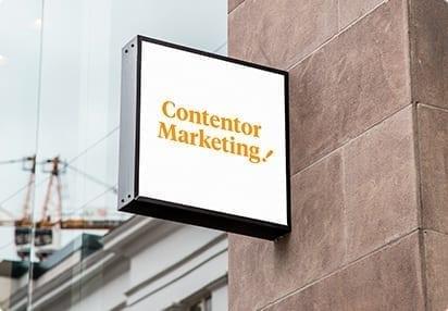"""Skylt där det står """"Contentor marketing"""""""