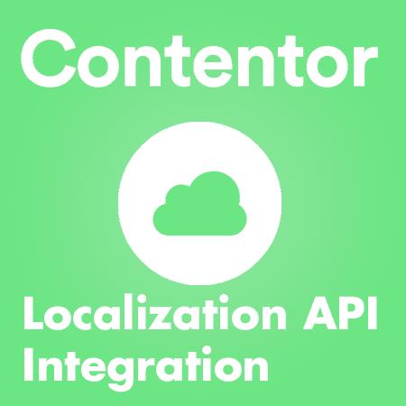 """Grafisk bild i grönt. Bilden visar ett moln och det står """"Localization API Integration"""""""