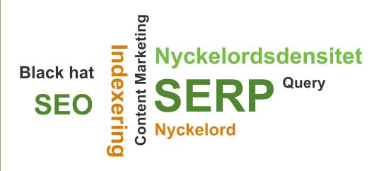 """Bilden visar ett ordmoln med ord som """"SERP"""", """"Nyckelordsdensitet"""", """"Indexering"""" och """"Black hat"""""""