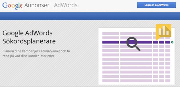 Bilden visar en skärmdump på Google Ads sökordsplanerare