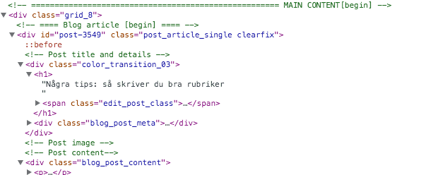 Bilden visar HTML-kod som startar ett blogginlägg
