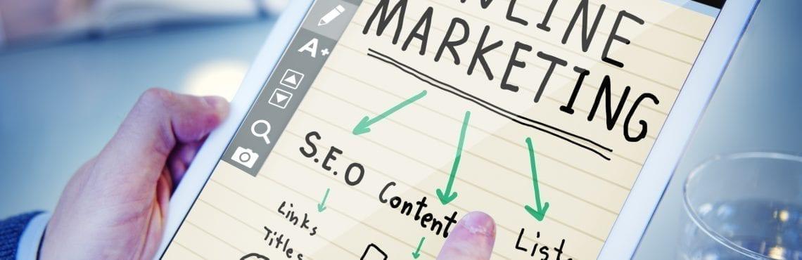 Bilden visar en padda med en bild om Online Marketing.